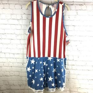 Junk Food American Flag Patriotic Romper NWT